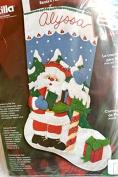 Plaid Bucilla 46cm felt stocking happy holiday 84854