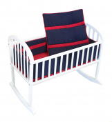 Baby Doll Solid Stripe Cradle Bedding Set, Navy/Red