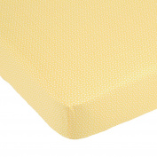 Yellow Tulip White Dot on Yellow Fitted Crib Sheet by Balboa Baby