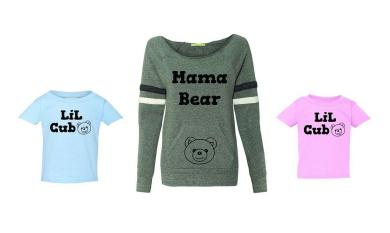 FASCIINO® MaMa Bear and LiL Cub Family Matching Tops Sweatshirt / T-Shirt