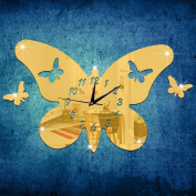 ZQ Modern European and American Stereo Butterfly mirror clocks clocks and creative Clock 3D environmental protection removable wall stickers room decoration ideas wall clocks , Golden
