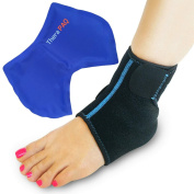 Foot & Ankle Brace Support with Hot & Cold Pack, Adjustable Wrap, Multi-Purpose, Microwaveable, Freezable and Reusable