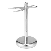 Razor and Brush Stand,Oak Leaf Deluxe Chrome Stand for Razor and Brush Bathroom Vanity