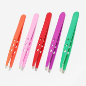 X-2 Straight Stainless Steel Eyebrow Facial Hair Removal Tweezers Pink