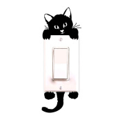 FunnyToday365 Black Cat Switch Decal Wallpaper Wall Stickers