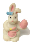 WHITE BUNNY FIGURINE WITH APRON PAINTING AN EGG