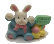 BUNNY FIGURINE WITH HAPPY EASTER SIGN