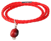 Red Braided Bracelet for Women Made with Red & Black Natural Huayruro 12mm Charm By Evelyn Brooks