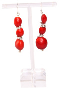 Dangle Earrings For Women Made With Red Huayruro Seed 8mm 12mm Beads 3 Tier by Evelyn Brooks