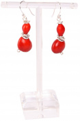 Dangle Earrings For Women Made With Red Natural Huayruro Seed 8mm 12mm Beads by Evelyn Brooks