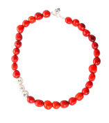 Strand Beaded Necklace for Women with Red Natural Huayruro Seed 12mm Beads by Evelyn Brooks