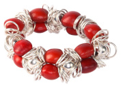 Stretch Bracelet for Women Made with Red Natural Huayruro Seed 12mm Beads By Evelyn Brooks