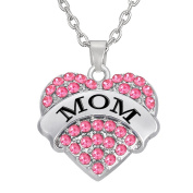 Pink Crystal Heart Mom Necklace Pendant