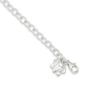 .925 Sterling Silver 4.00MM Small Oval Rolo Link with Butterfly Anklet Bracelet, 10 Inches