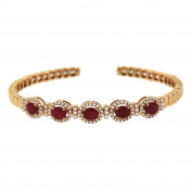 Women's 14k Rose Gold Ruby and Diamond Bangle
