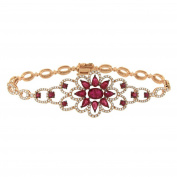 Women's 14k Rose Gold Ruby and Diamond Bracelet