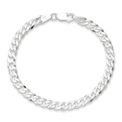 .925 Sterling Silver 4.5MM Bevelled Curb Link Bracelet 7 and 8 Inches