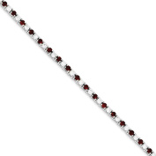 .925 Sterling Silver Red and White CZ Bracelet 18cm