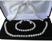 """Long 30"""" 7.5"""" set Genuine 8-9mm ROUND White Strand Pearl Necklace Bracelet Stud Earrings 3pc set Cultured Freshwater"""