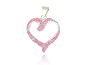 925 Sterling Silver Pink Inlay Opal Love Heart Charm Big Pendant 6gr