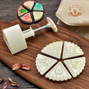 Moon Cake Mould With 5 Stamps - Mid Autumn Festival DIY Decoration Press 50g White