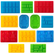 TYH Supplies 12pc Candy Moulds For Lego Lovers Chocolate Moulds Ice Cube Moulds Silicone Baking Moulds Premium Silicone Moulds - Building Blocks and Robots