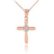 Fine 14k White Gold Solitaire Diamond Flower Cross Pendant Necklace