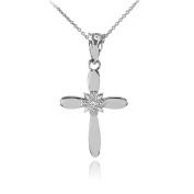 Fine 14k White Gold Solitaire Diamond Flower Cross Pendant Necklace (2.5cm x 1.3cm ), 60cm Chain