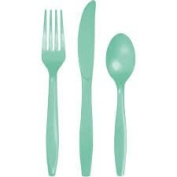 Club Pack of 288 Fresh Mint Green Assorted Premium Plastic Party Cutlery