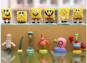 12Pcs/Set Spongebob Patrick Sandy Star Gary Squidward Miniature Action Figures Toys Movie Doll Furnish Collection Kids Gifts With Base