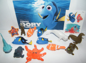 Disney Finding Dory Movie Deluxe Figure Set of 14 Toy Kit with Figures, Tattoo Sheet, ToyRing featuring Dory, Nemo, Marlin, Hank the Octopus and Many More!
