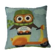 18*18 Cycling Owl Print Pattern Child's Throw Pillowcase