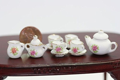 Dollhouse Miniature Pink Rose Floral Tea Set