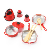 Kitchen Cookware Pots and Pans Playset for Kids with Kettle, Cooking Utensils Set, Salt and Pepper Shakers