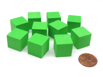 Pack of 10 16mm Blank Foam Dice Cubes with Square Corners - Green