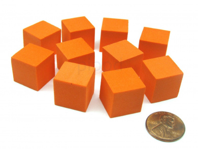 Pack of 10 16mm Blank Foam Dice Cubes with Square Corners - Orange
