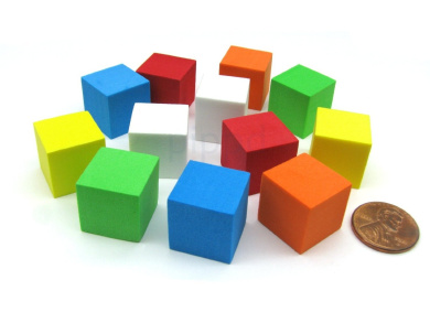 Pack of 12 16mm Blank Foam Dice Cubes with Square Corners - 2 Each of 6 Colours