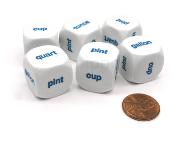 Pack of 6 20mm Educational Capacity Dice - Ounce Cup Pint (x2) Quart Gallon