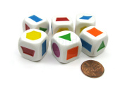 Pack of 6 20mm Educational Colour Shapes Dice (Series 2) - White with Assorted