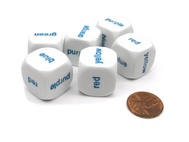 Pack of 6 20mm Educational Colour Word Dice - White with Blue Words