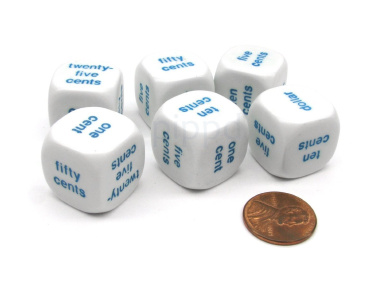 Pack of 6 20mm Educational Math Money English Word Dice - White with Blue Words