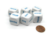 Pack of 6 20mm Educational Shapes Word Dice (Series 2) - White with Blue Words