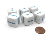Pack of 6 20mm Educational Shapes Word Dice - White with Blue Words
