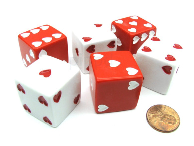 Pack of 6 Heart Pip D6 25mm Large Jumbo Love Dice - 3 Red and 3 White