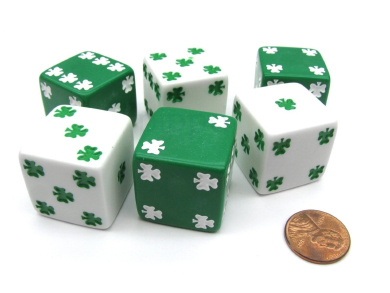 Pack of 6 Shamrock D6 25mm Large Jumbo Dice - 3 White and 3 Green