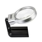 CONBEE Folding Magnifying Glass / Illuminated Collapsible Magnifier with LED Light / Handheld or Hands Free, 3X Magnification Lenses for Reading, Sewing, Craft & Hobby / Black