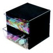 Deflect-O Stackable Cube Organiser With 2-Drawer - Black