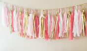16 x Originals Group Coral TISSUE PAPER TASSELS for Party Wedding gold Garland Bunting Pom Pom