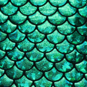 Mystic Mermaid Hologram Fish Scale Stretch Spandex Green, 150cm /150cm Wide - Sold By The Yard