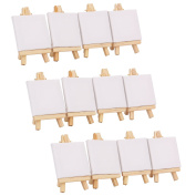 Tosnail 6.9cm x 12cm Mini Canvas & Easel Set Painting Craft Drawing Art Decoration - 12 pcs